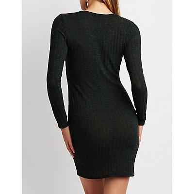 Ribbed Lace-Up Bodycon Midi Dress