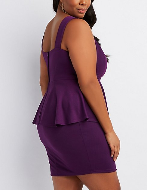 Plus Size Peplum Bodycon Dress Charlotte Russe
