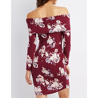 Floral Hacci Off-The-Shoulder Dress