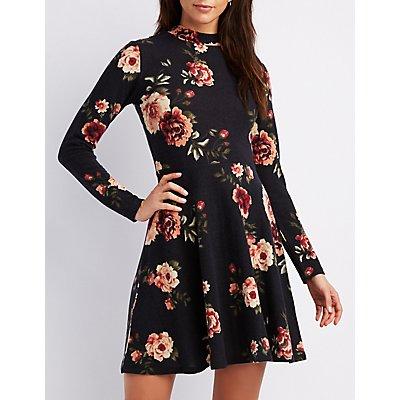 Floral Mock Neck Skater Dress