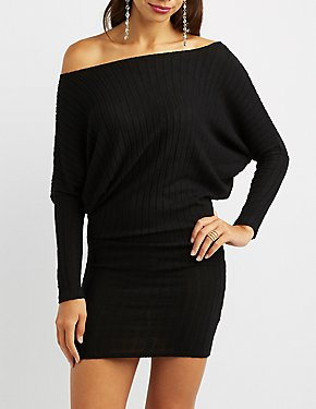 Long Sleeve Ribbed Knit Bodycon Dress