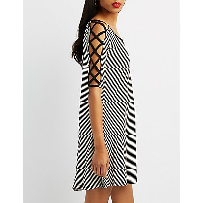 Lattice-Detail Striped Shift Dress
