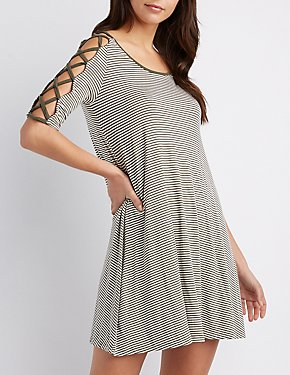 Lattice-Detail Striped Shift Dress