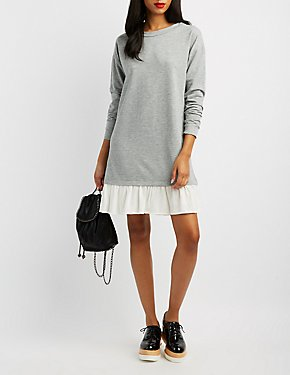 Ruffle Hem Sweater Dress
