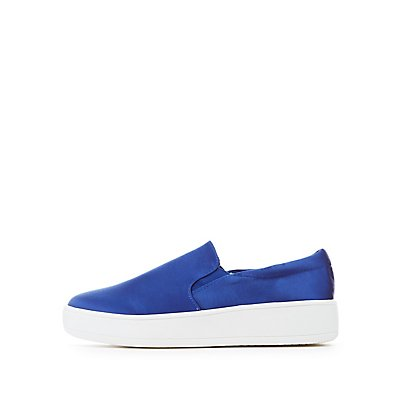 Satin Slip-On Platform Sneakers