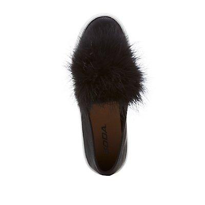 Feather-Trim Slip-On Platform Sneakers
