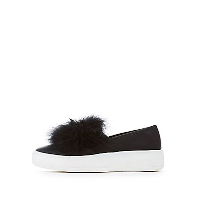 Feather-Trim Slip-On Platform Sneakers
