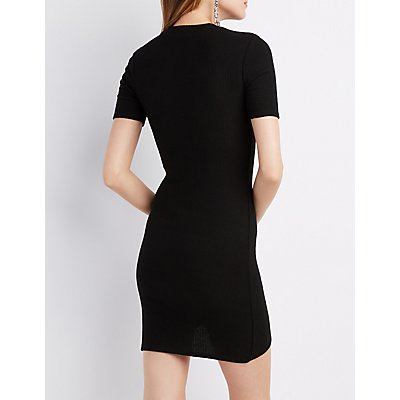 Ribbed Asymmetrical Hem Bodycon Dress