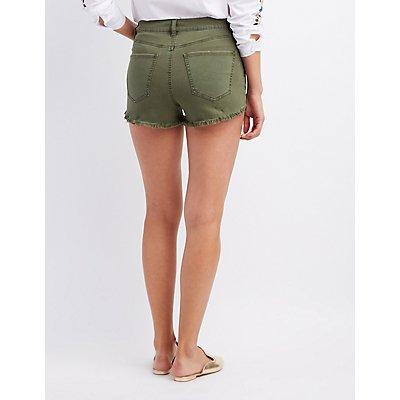 Refuge Destroyed Hi-Rise Cheeky Denim Shorts