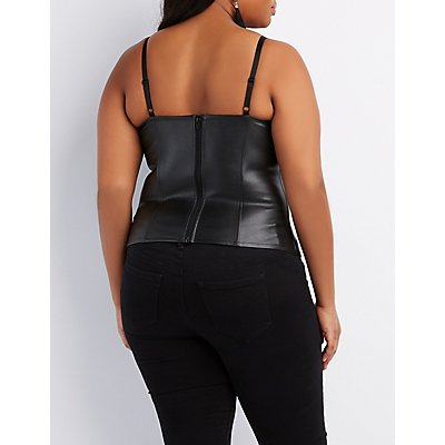 Plus Size Lace Embellished Faux Leather Bustier
