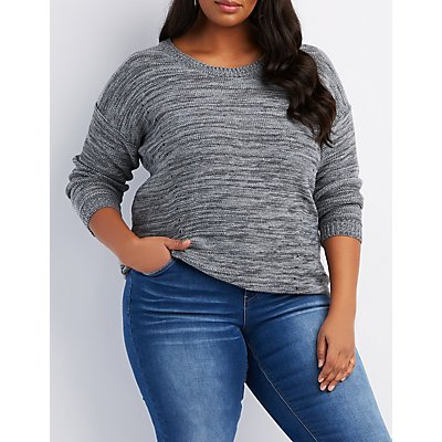 Plus Size Destroyed Back Sweater