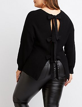 Plus Size V-Neck Bow-Detailed Sweater