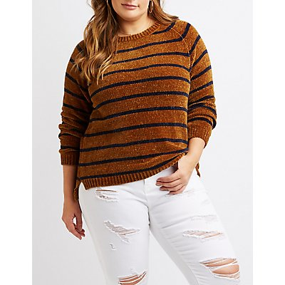 Plus Size Chenille Stripe Crew Neck Sweater