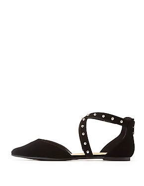 Studded Pointed Toe D'Orsay Flats
