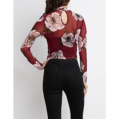 Floral Print Mesh Top