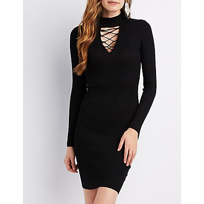 Mock Neck Lattice Bodycon Dress