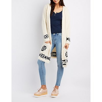 Border Print Open-Front Hooded Cardigan