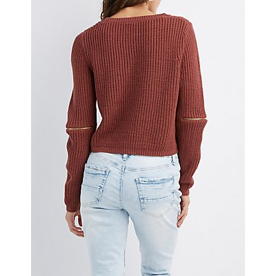 Zipper Detailed Cropped Pullover Sweater