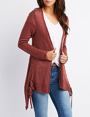 Lace-Up Detail Open-Front Cardigan