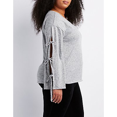 Plus Size Knot Detailed Bell Sleeve Top