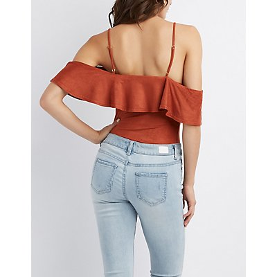 Faux Suede Ruffle-Trim Cold Shoulder Bodysuit
