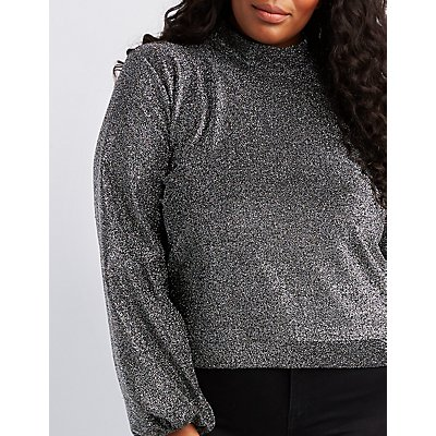 Plus Size Shimmer Knit Mock Neck Balloon Sleeve Top