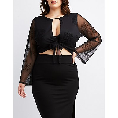Plus Size  Flocked Velvet Tie-Front Crop Top