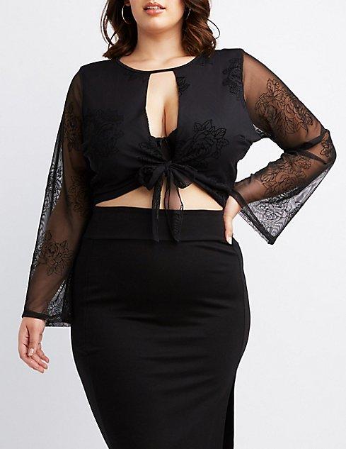 88effe42f10474 Plus Size Flocked Velvet Tie-Front Crop Top | Charlotte Russe