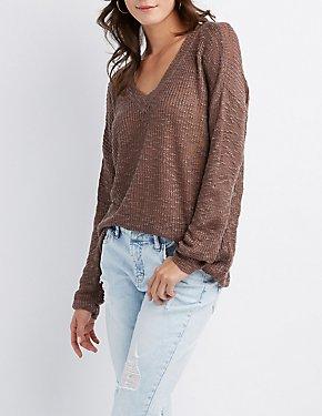 V-Neck Open-Back Sweater