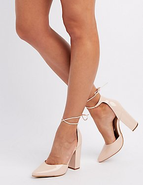Faux Leather Lace-Up Pumps
