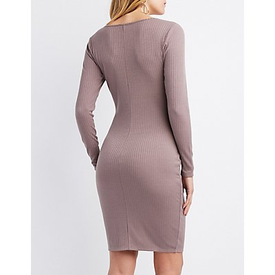 Ribbed Button-Detail Bodycon Dress