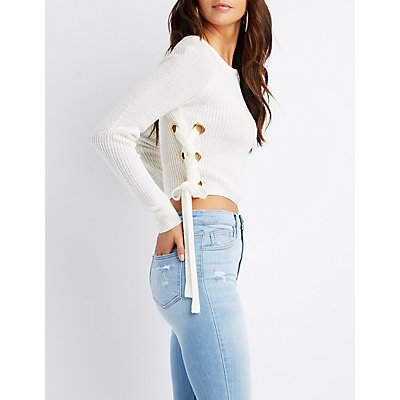 Lace-Up Cropped Pullover Sweater