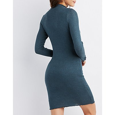 Lettuce-Trim Ribbed Bodycon Dress