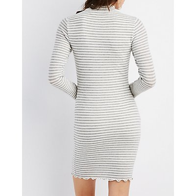 Lettuc-Trim Striped Sweater Dress