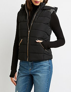 Quilted Puffer Hooded Vest