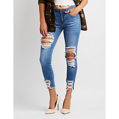 Machine Jeans Frayed Hem Destroyed Skinny Jeans