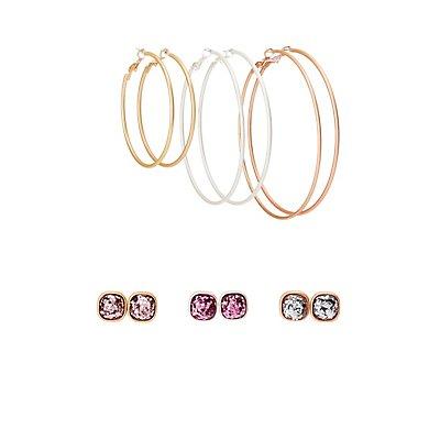 Glitter Stud & Hoop Earrings - 6 Pack