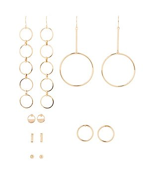 Geometric Stud & Hoop Earrings - 6 Pack
