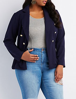 Plus Size Notched Lapel Blazer