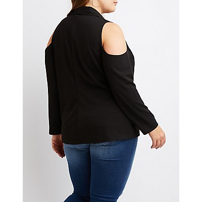 Plus Size Cold Shoulder Open-Front Blazer