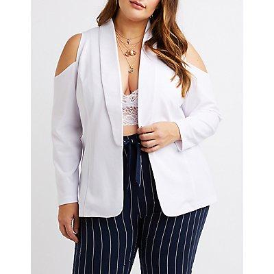 Plus Size Cold Shoulder Open-Front Blazer