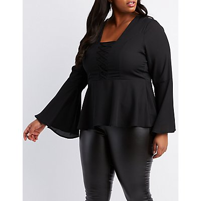 Plus Size Bell Sleeve Lace-Up Peplum Top
