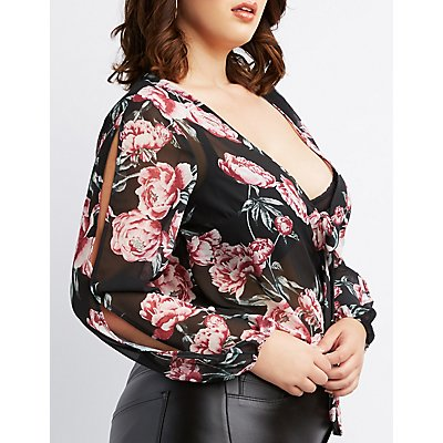 Plus Size Floral Sheer Bodysuit