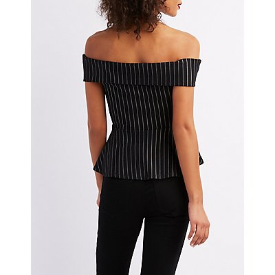 Off-The-Shoulder Pinstripe Peplum Top
