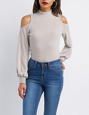 Cold Shoulder Mock Neck Hacci Top