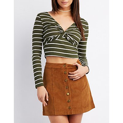 Striped Knotted Crop Top