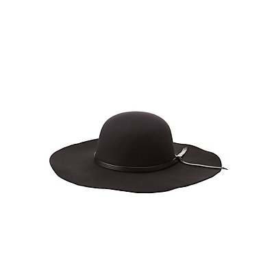 Faux Leather-Trimmed Floppy Hat
