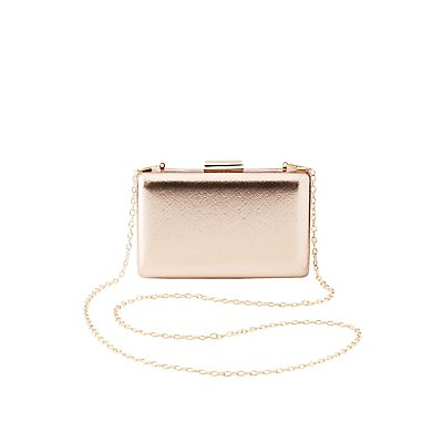 Metallic Faux Leather Convertible Box Clutch