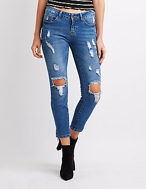 Destroyed Mid-Rise Crop Skinny Jeans