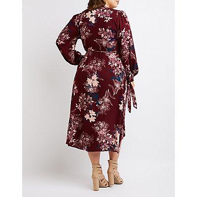 Plus Size Floral Maxi Wrap Dress